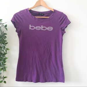 Bebe Bedazzled Purple T-Shirt